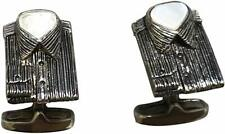 Paul Smith Silver Shirt with Mother of Pearl Inlay Cufflinks