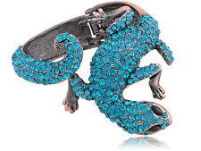 Fashion Brass Blue Zircon Crystal Rhinestone Lizard Reptile Cuff Bracelet Bangle