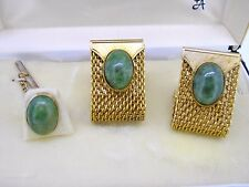 Cuff links cufflinks oval green JADE mesh wrap around tie tack set Anson