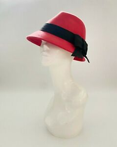 Vintage wool red trilbyhat, Ascot, burlesque,races,church, wedding hat, wool hat