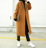 Womens Ladies Wool Blend Long Coat Outwear Jacket Trench Overcoat Casual Loose