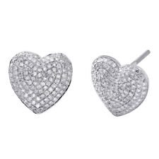 10K White Gold Diamond Heart Shape Dome Studs Ladies Puff Pave Earrings 3/4 CT.