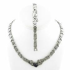 "Hugs And Kisses Silver I Love You  Necklace & Bracelet Set 18"" XOXO"