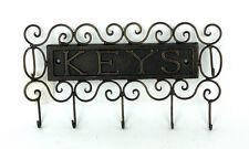 French provincial Iron Key Holder Rack 5 Hook Home Decor 28x15cm