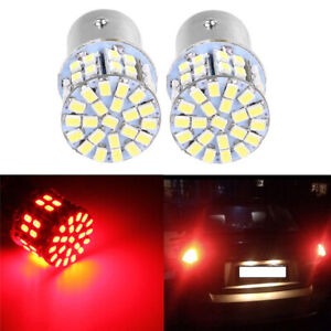 2X 1157 BAY15D 50 SMD 1206 LED Red Light Car Tail Stop Brake Lamp Bulb 3W 12V S