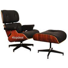 Lounge chair  100%  cuir avec  ottoman  ,  Noir Rosewood