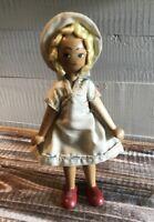 "Vintage Polish Girl Doll Wooden Peg Wood Folk Art Poland Painted Face 7.75"""