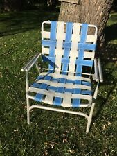 VTG Aluminum Webbed Folding Chair Beach Lawn Patio Porch Camp Retro Blue White