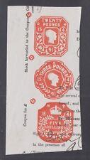 Great Britain, 1891 £20, £3 and 5sh orange Embossed Revenues, strip of 3