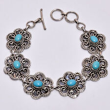 925 Sterling Silver Bracelet, Natural Sleeping Beauty Turquoise Jewelry BR55