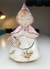 VTG Hull Little Red Riding Hood Cookie Jar Poinsettia Brown Shoes Gold Trim Pink