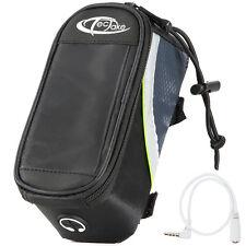 Bolsa funda frontal bicicleta manillar bolso bici móvil smartphone S negro-verde