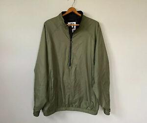 DryJoys x FootJoy 1/2 Zip Windshirt Jacket Black Golf Lined Large Green Pullover