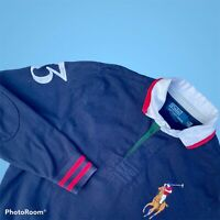 "Vintage Ralph Lauren Polo Dark Blue Long Sleeve Rugby Large Pony Big 3 P2P 20"" S"