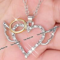 CHRISTMAS GIFTS FOR HER Rose Gold & Silver Angel Wings Necklace Girls Women K8
