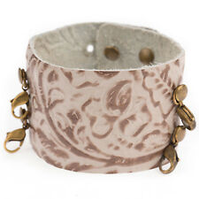 Lenny & Eva Wide Cuff Embossed Taupe Leather Bracelet - Retired