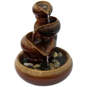 Sunnydaze Tiered Vessels Indoor Ceramic Tabletop Water Fountain - 10-Inch