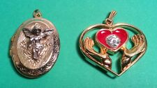 PAIR OF NECKLACE PENDANTS OVAL ANGEL PHOTO LOCKET & HEART IN HANDS PENDANT
