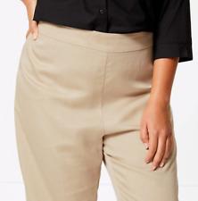 M&S Ladies Trousers Biscuit Soft Linen Tencel Wide Leg BNWT Marks Curve £45
