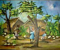 "ORIGINAL HANDMADE HAITIAN ART PAINTING BY ANTOINE PATRICK HAITI ""VILLAGE"" 20X16"