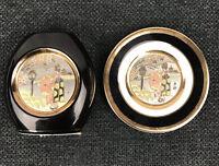 Art of Chokin Geisha Girl 24K Gold Edged Vase and Dish Black Vintage Japan