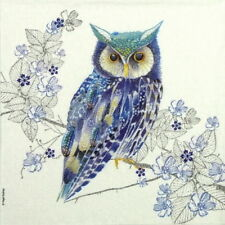 4x Paper Napkins for Decoupage Craft and Party - Nigel Quiney: Blue Owl