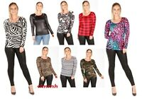 Ladies Women's Brown Leopard Print Long Sleeve Stretch Viscose Tee Top UK 8/14