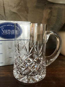 Solitaire 24% Lead Crystal Pint Tankard Glass