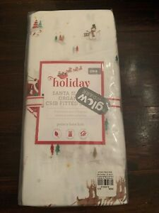 GLOW COTTON Pottery Barn Kids SANTA SLEIGH Crib SHEET Baby Toddler Christmas NEW