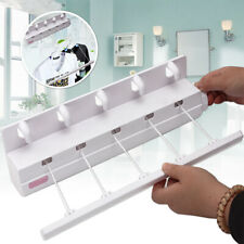 5 Line Pull Out Retractable Airer & Hangers Washing Laundry Bracket Wall