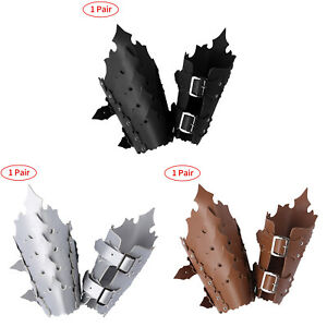 Leather Buckle Rivet Arm Guard Bracers Wide Gauntlet Medieval Cosplay Wrist Cuff