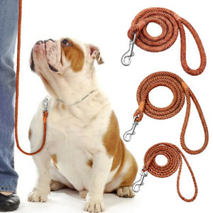 4ft Braided Leather Pet Dog Leash Rolled Rope Walking Lead for Small Large Dogs