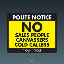 REF071 Stop Cold Calling Door Sticker No Canvassers Callers Sign - 150mm x 120mm