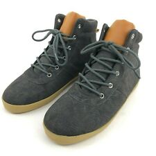 Gap Boys Faux Suede Hiker Mid Top Sneakers Gray Charcoal Youth Size 6