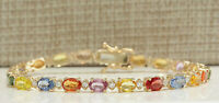 12.74 Carat Natural Sapphire 14K Yellow Gold Diamond Bracelet