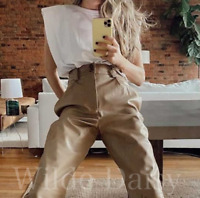 ZARA NEW TAN FAUX LEATHER TROUSERS CAMEL HIGH WAISTED TURN UPS POCKET SIZE XS-XL