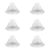 Commercial Electric 6 in. White Airtight Recessed Can Light Baffle Trim (6-Pack)
