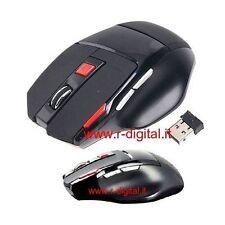 MOUSE GAMING 7 TASTI per GIOCARE WIRELESS OTTICO USB WIFI NANO LASER di GIOCO