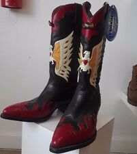 Men's Longhorn Leather Cowboy Country Western Boots Size 9.5