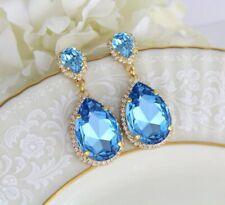 Women's Very Large 10.2 Ct Pear Swiss Blue Topaz & Sim Diamond Halo Drop Earring