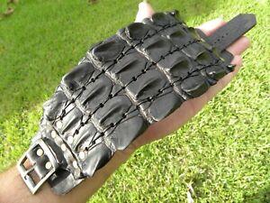 Men cuff bracelet  genuine Alligator horn Bison leather large size adjustable