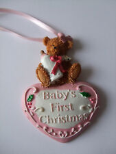 Baby Girl's 1st Christmas Tree Ornament / Keepsake / Bear and Heart Pink