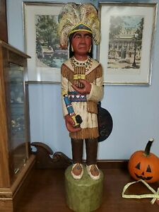 Vintage 1974 Wood Carved Cigar Store Indian Native American Jim Maxwell 34 in