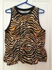 ASOS Ladies Black/Orange Animal Print Sleeveless Frilled Top size 14 BNWT - 5