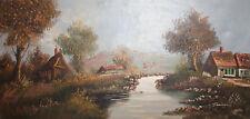 Vintage oil painting landscape village river signed