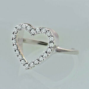 0.40 Ct Sim Diamond Dainty Open Heart Womens Toe Ring 14K White Gold Plated