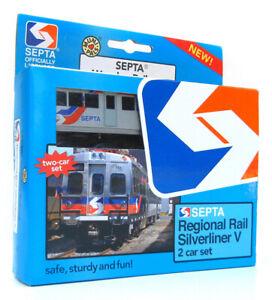 Munipals MP05-1101 Wooden Train SEPTA Silverliner 2 Car Set
