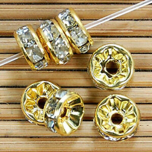 10mm Gold Plated Rondelle Clear Crystal Rhinestone Craft Spacer Beads 100pcs