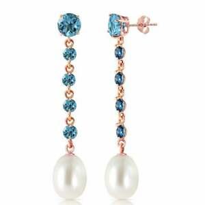 10 Carat 14K Solid Rose Gold Chandelier Blue Topaz & Pearl Gemstone Earrings