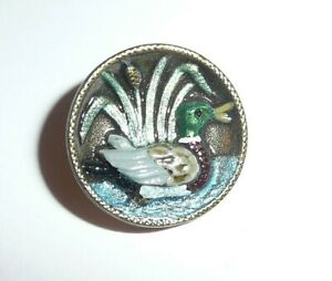 """Pretty Hand Painted Duck Antique Reproduction Metal Shank Button 3/4"""" Limited"""